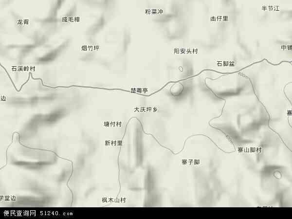 中国湖南省永州市零陵区大庆坪乡地图(卫星地图)