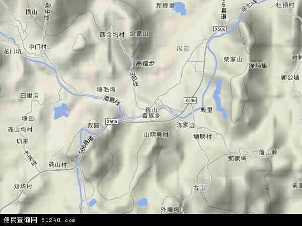 中国浙江省杭州市桐庐县莪山畲族乡地图(卫星地图)
