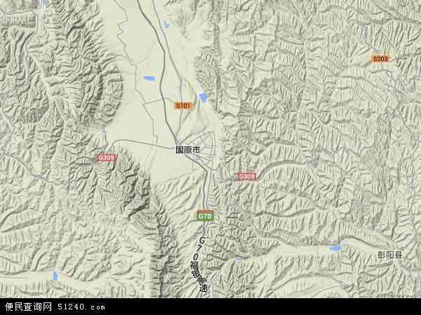 中国宁夏回族自治区固原市原州区官厅镇地图(卫星地图)