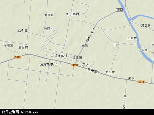 中国河南省开封市兰考县红庙镇地图(卫星地图)