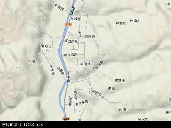 中国陕西省榆林市横山县横山镇地图(卫星地图)