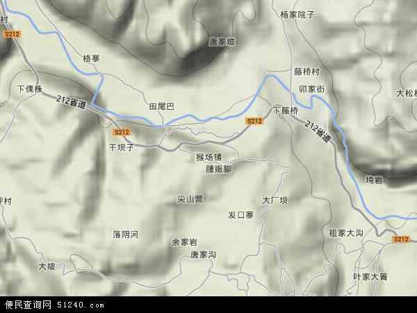 猴场镇2018年卫星地图 中国贵州省毕节市威宁彝族回族苗族自治县猴