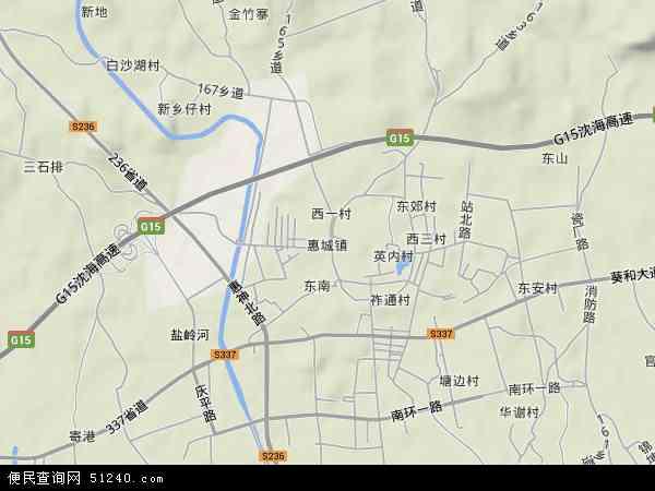 中国广东省揭阳市惠来县惠城镇地图(卫星地图)