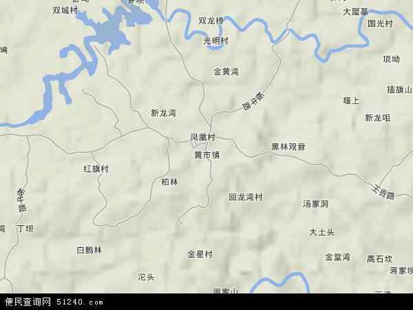 中国四川省自贡市沿滩区黄市镇地图(卫星地图)