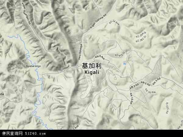 卢旺达基加利-恩加利地图(卫星地图)