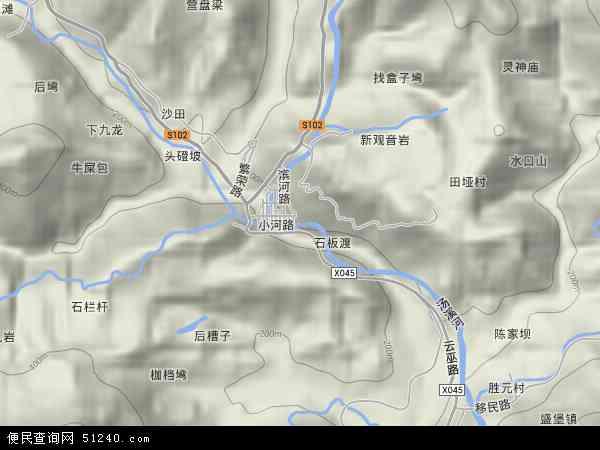 江口镇地形地图