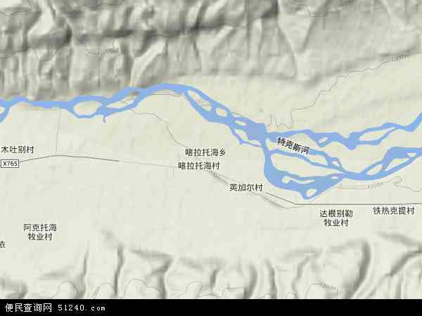 中国新疆维吾尔自治区伊犁哈萨克自治州特克斯县喀拉托海乡地图(卫星