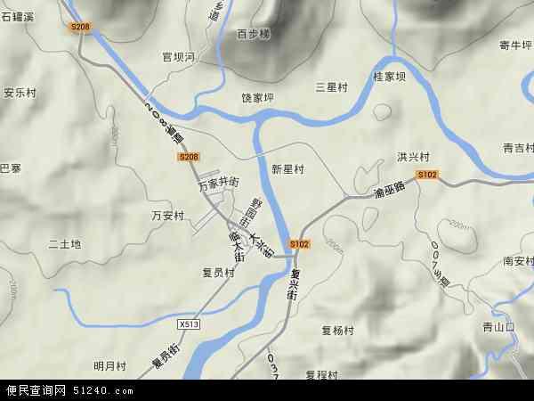 临江镇地形地图