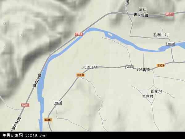中国吉林省白山市浑江区六道江镇地图(卫星地图)