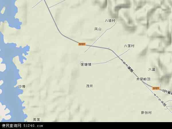 莲塘镇2017年卫星地图 中国广西壮族自治区南宁市横县莲塘镇地图