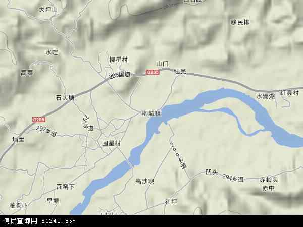 中国广东省河源市东源县柳城镇地图(卫星地图)