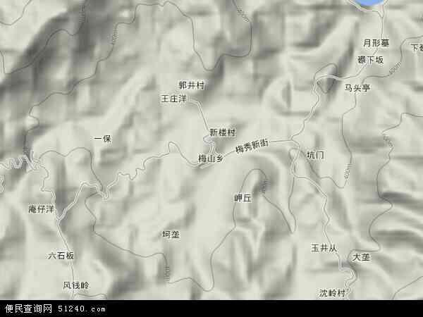 中国福建省三明市大田县梅山乡地图(卫星地图)