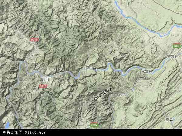 中国四川省宜宾市屏山县地图(卫星地图)