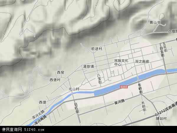 中国辽宁省抚顺市清原满族自治县清原镇地图(卫星