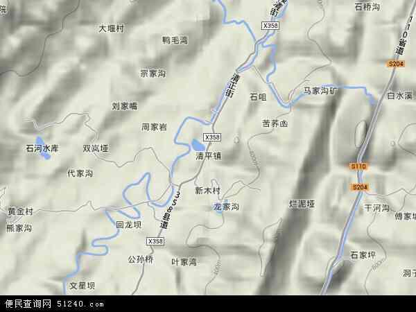 中国重庆市合川区清平镇地图(卫星地图)