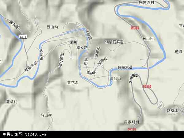 中国陕西省延安市黄陵县桥山镇地图(卫星地图)