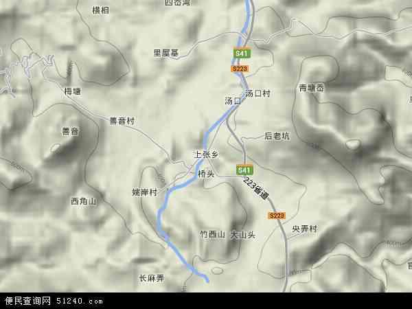 中国浙江省台州市仙居县上张乡地图(卫星地图)