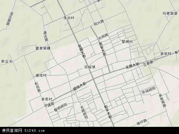 双城镇地图 - 双城镇卫星地图