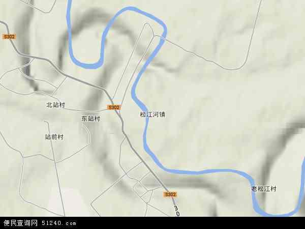 中国吉林省白山市抚松县松江河镇地图(卫星地图)图片