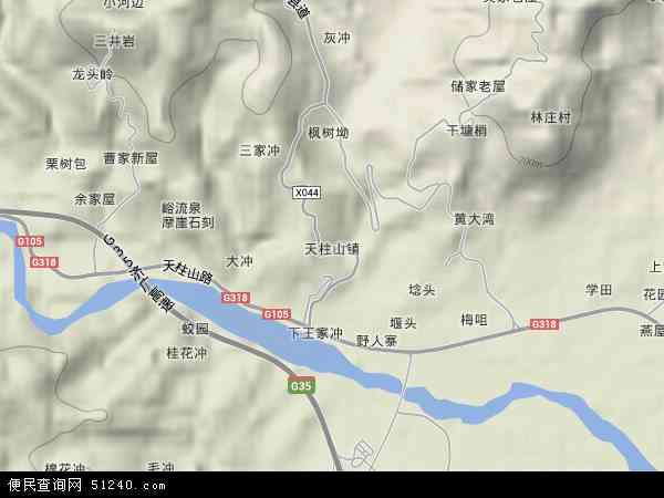 中国安徽省安庆市潜山县天柱山镇地图(卫星地图)图片