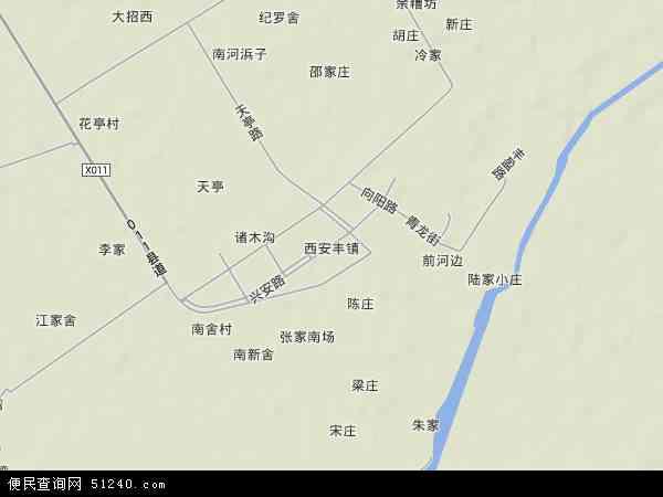 中国江苏省扬州市宝应县西安丰镇地图(卫星地图)