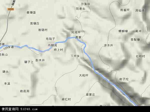 中国湖南省怀化市中方县下坪乡地图(卫星地图)