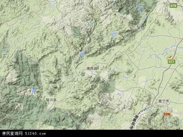 中国广东省揭阳市揭西县县苗圃场地图(卫星地图)图片