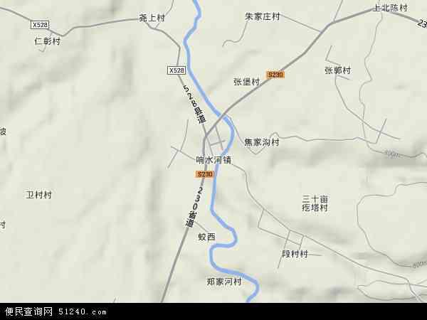 中国山西省临汾市浮山县响水河镇地图(卫星地图)图片