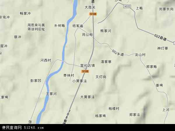 中国湖北省孝感市大悟县宣化店镇地图(卫星地图)