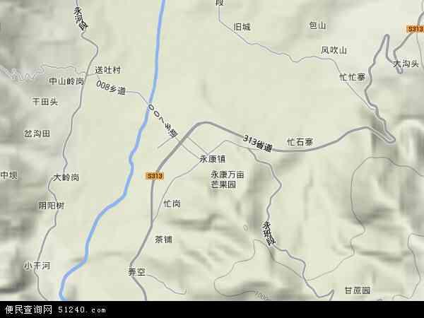中国云南省临沧市永德县永康镇地图(卫星地图)