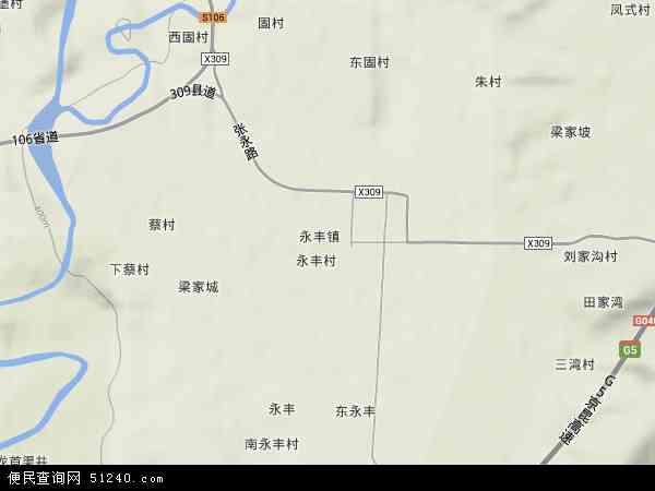 中国陕西省渭南市蒲城县永丰镇地图(卫星地图)