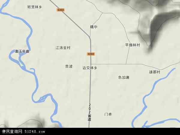 中国西藏自治区拉萨市林周县边交林乡地图(卫星地图)