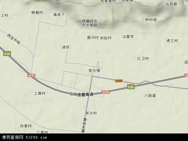 中国陕西省宝鸡市眉县常兴镇地图(卫星地图)