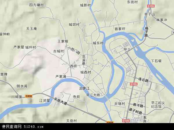 中国湖南省岳阳市平江县城关镇地图 卫星地图