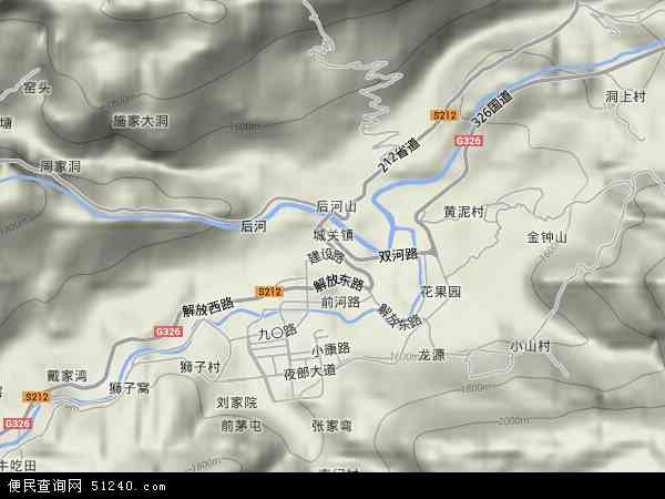 中国贵州省毕节市赫章县城关镇地图(卫星地图)