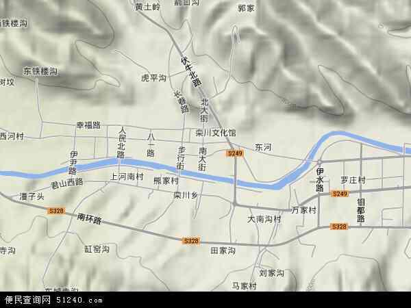 中国河南省洛阳市栾川县城关镇地图(卫星地图)图片