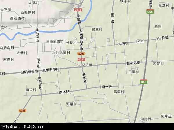 中国陕西省渭南市富平县城关镇地图(卫星地图)图片