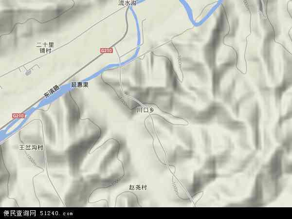 中国陕西省延安市宝塔区川口乡地图(卫星地图)