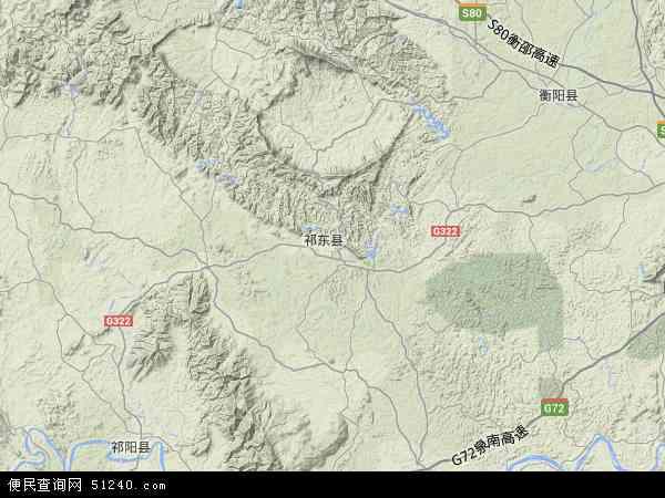中国湖南省衡阳市祁东县城连圩乡地图(卫星地图)
