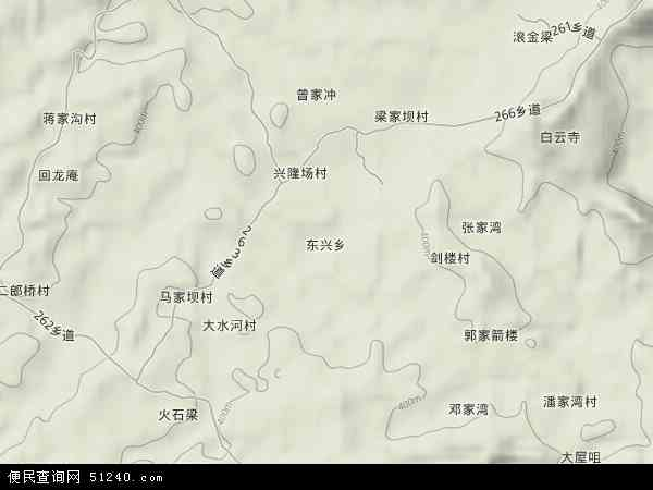 东兴乡2018年卫星地图 中国四川省达州市达川区东兴乡地图