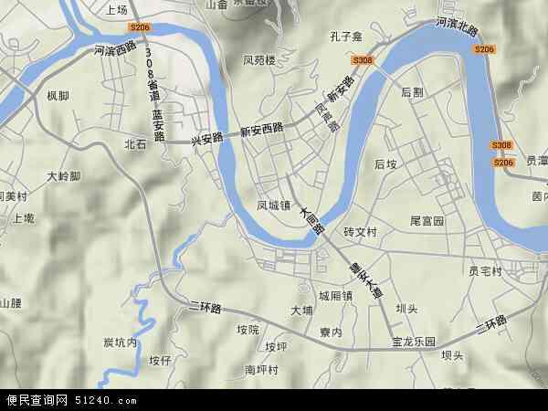 中国福建省泉州市安溪县凤城镇地图(卫星地图)
