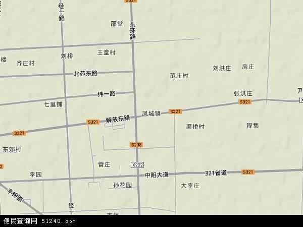 中国江苏省徐州市丰县凤城镇地图(卫星地图)