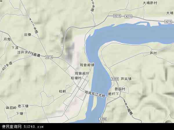 中国广东省惠州市博罗县观音阁镇地图(卫星地图)