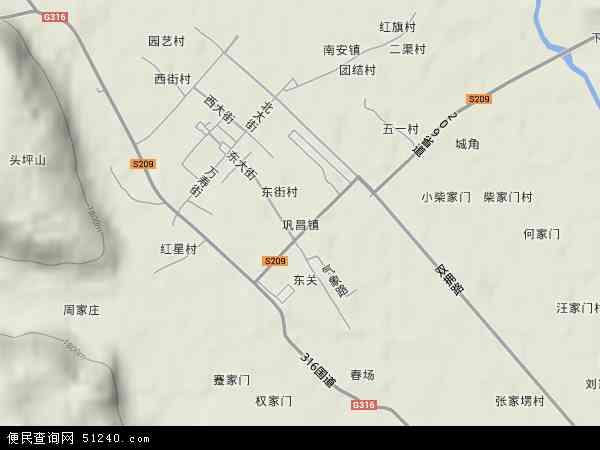 中国甘肃省定西市陇西县巩昌镇地图(卫星地图)
