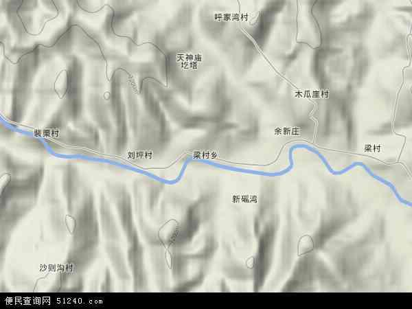 中国陕西省延安市宝塔区梁村乡地图(卫星地图)