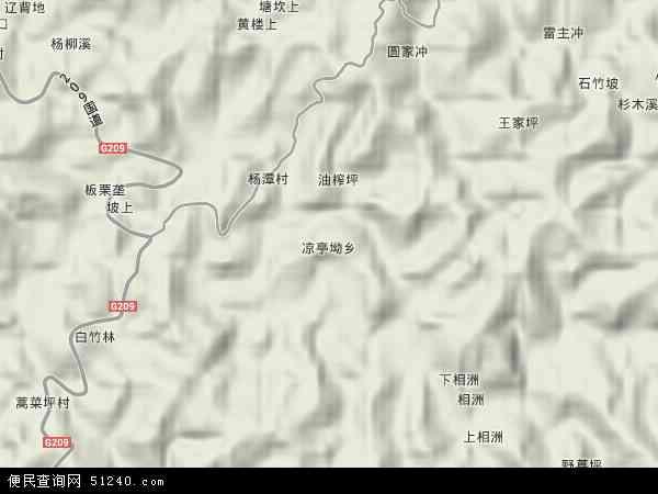 中国湖南省怀化市鹤城区凉亭坳乡地图(卫星地图)