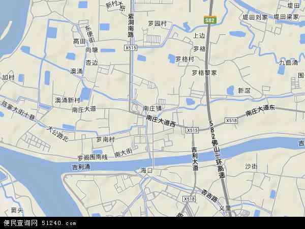 中国广东省佛山市禅城区南庄镇地图(卫星地图)