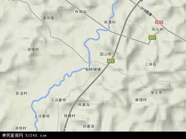 石桥铺镇地形地图