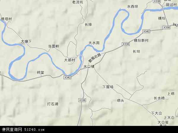 水口鎮2017年衛星地圖 中國廣東省韶關市南雄市水口鎮地圖圖片