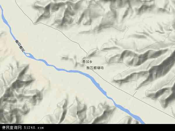 中国青海省海西蒙古族藏族自治州都兰县香加乡地图(卫星地图)